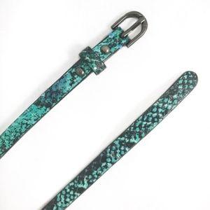 Ann Taylor Leather Snakeskin Turquoise Skinny Belt